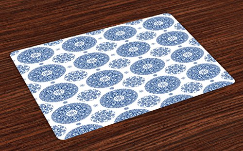 Ambesonne Vintage Place Mats Set of 4, French Country Style Floral Circular Pattern Lace Ornamental Snowflake Design Print, Washable Fabric Placemats for Dining Table, Standard Size, Cobalt White - Ornamental Lace Pattern