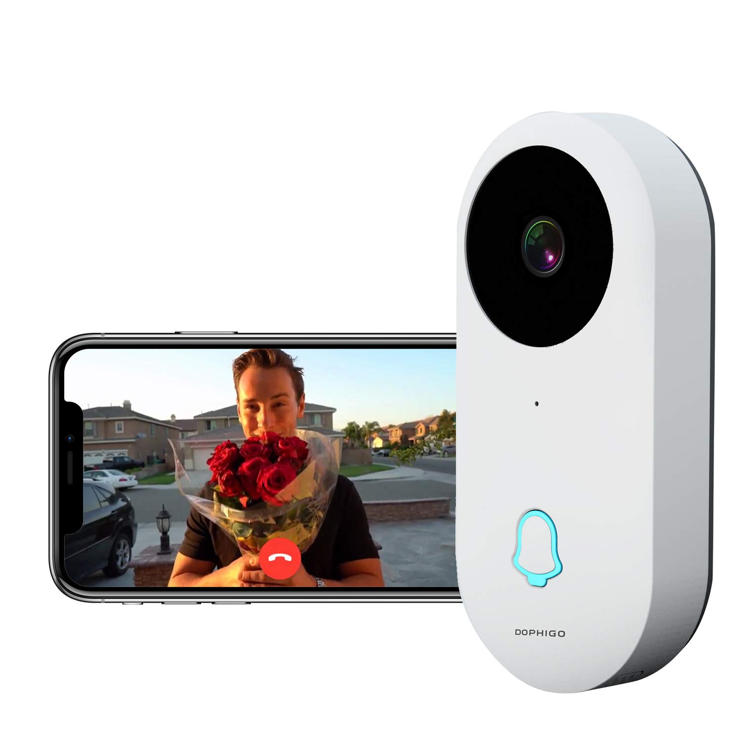 Wi-Fi Enabled Smart Video Camera Wireless Doorbell Button Chime (1 Base)