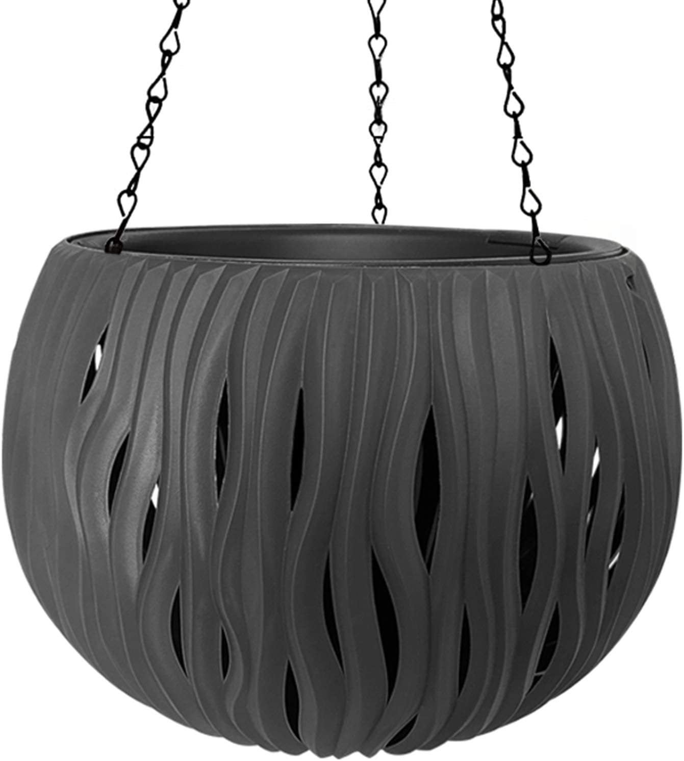 SEISHIN 11 Inch Hanging Flower Pot Self Watering Hanging Basket Planters Outdoor Plant Pots with Hanging Chain Office Garden Porch Balcony indow sill Black…