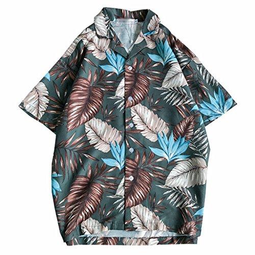 資格自動哀れなアロハシャツ 夏服 シャツ カップル ハワイ風 夏 開襟 ラペル 半袖 UV対策 通気速乾 軽量 カジュアル 薄手 ゆったり 旅行 リゾート ビーチ 海 プリントシャツ ユニセックス 花柄 木の葉 全2色 M L XL 2XL