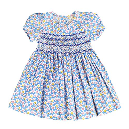 sissymini - Infant and Toddlers Hand Smocked Dresses | Sophie Foster's Speckled Floral Frock in Maya Blue 3T
