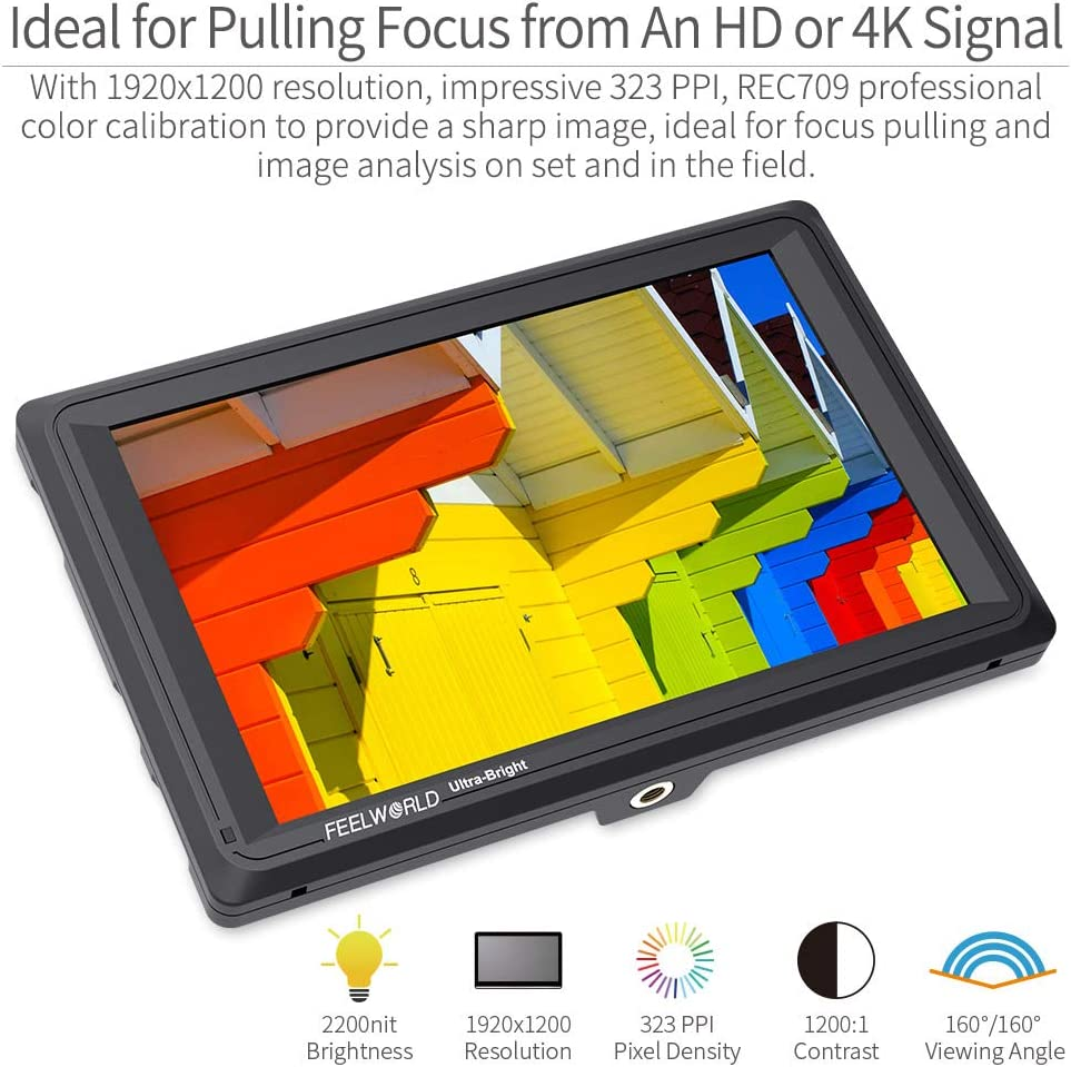 FEELWORLD FW279S 7 2200nit Ultra Bright Daylight Viewable SDI Field Monitor IPS Support 4K HDMI and 3G-SDI in and Loop-Out Full HD 1920x1200 On-Camera Monitor for Camera//Video Can Power for DSLR