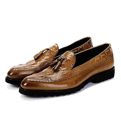 Ywqwdae Slip on Mocasines con patrón de cocodrilo para Hombres Zapatos de Suela Suave de Cuero