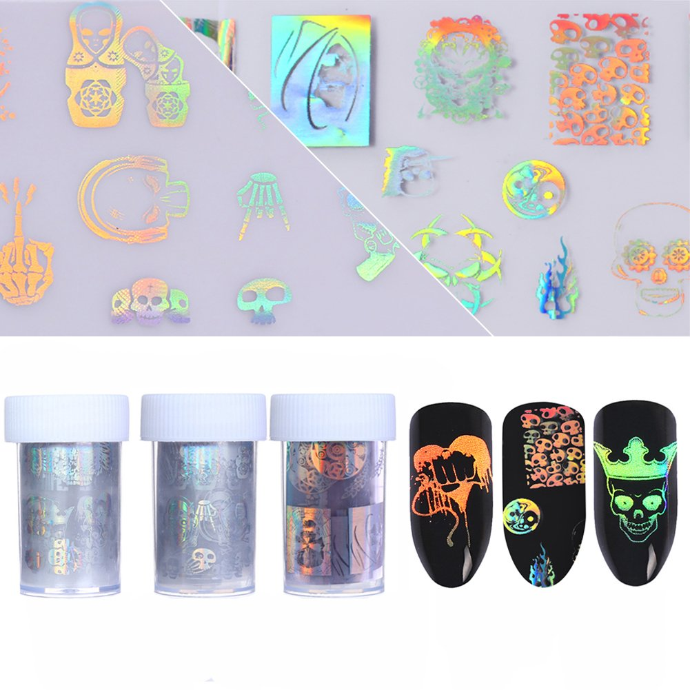 Born Pretty 3 Rolls Nail Art Holographic Foil Sticker Halloween Theme Skull Wing Manicure Starry Sky Laser Transfer Decals Set