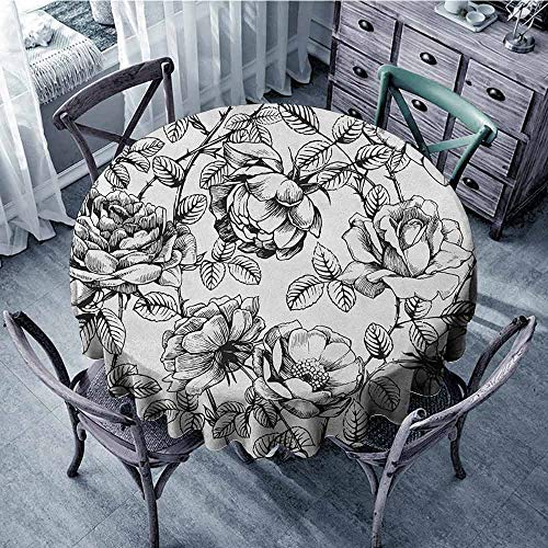 ScottDecor Camping Round Tablecloth Table Cover Floral,Hand Drawn Rose Petals Branches Leaves Shabby Chic Fragrance Artful Illustration, Grey White Diameter 36