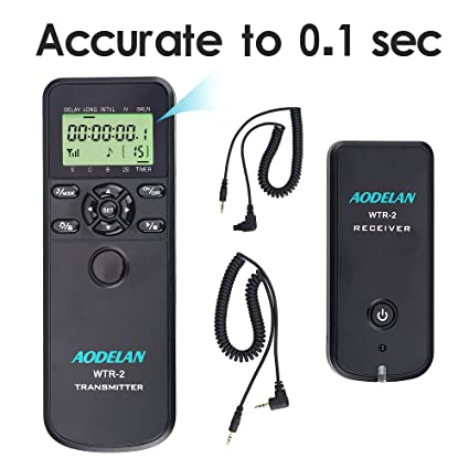 AODELAN WTR2 Camera Wireless Shutter Release Timer Remote Control for Canon  EOS R, RP, 200D, EOS Rebel SL2, SL3, 250D, 80D, 77D, 800D, 7D Series, 5D