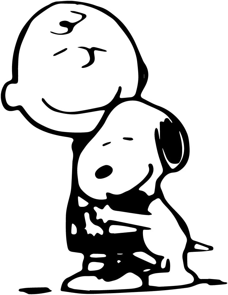 """Peanuts Comic 5.5"""" Tall Charlie Brown Hugging Snoopy Decal for Cars Laptops Tablets, Windows Skateboard - Black"""
