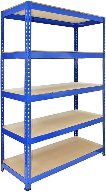 Q Rax 120 Cm Garage Shelving Storage Unit Racking 5 Tier Bay Boltless Warehouse Shelves Blue Amazon Co Uk Kitchen Home