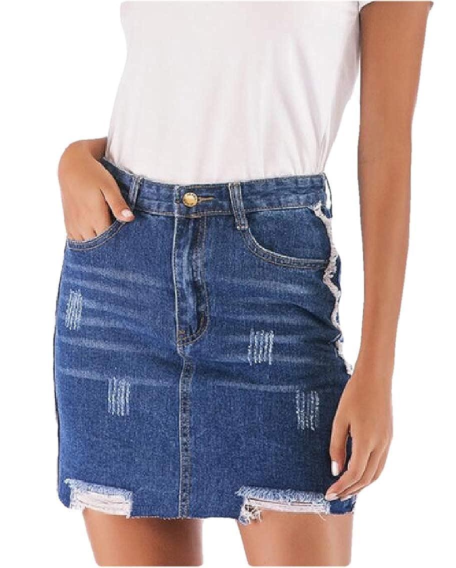 YYG Womens Bodycon Classic Hole Ripped Denim A-Line High Waist Mini Skirts