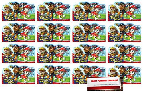 16 Paw Patrol Postcard Style Party Invitations with Marshall Chase and Rubble (Plus Party Planning Checklist by Mikes Super Store) -