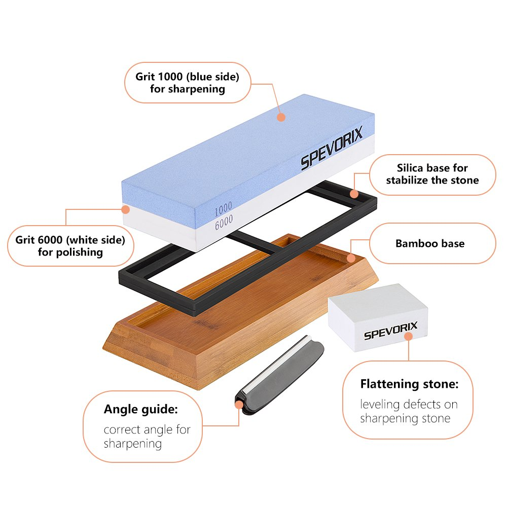 Premium Sharpening Stone 2 Side Grit 1000/6000 Whetstone   Best Kitchen Knife Sharpener Waterstone with Non-Slip Bamboo Base & Flattening Stone by SPEVORIX (Image #2)