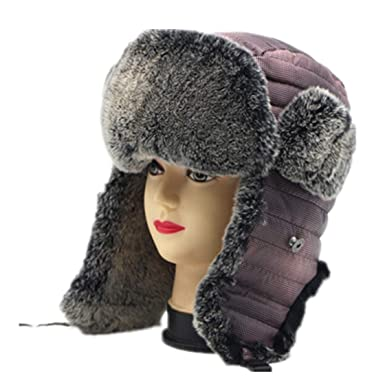 f31e988e876 Rabbit Fur Winter Hats with Ears Flaps Snow Hot Outdoor Russian Caps Cap  Bomber Hat at Amazon Men s Clothing store