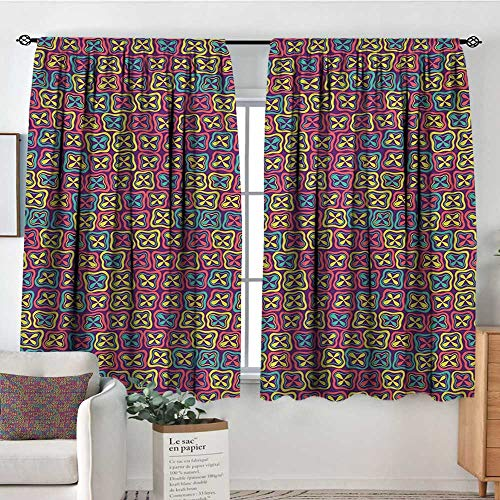 Theresa Dewey Bedroom Curtains Colorful,Flowers Clover Petals Mosaic Style Mother Nature Spring Season Baby Childish Kids,Multicolor,Insulating Room Darkening Blackout Drapes 42