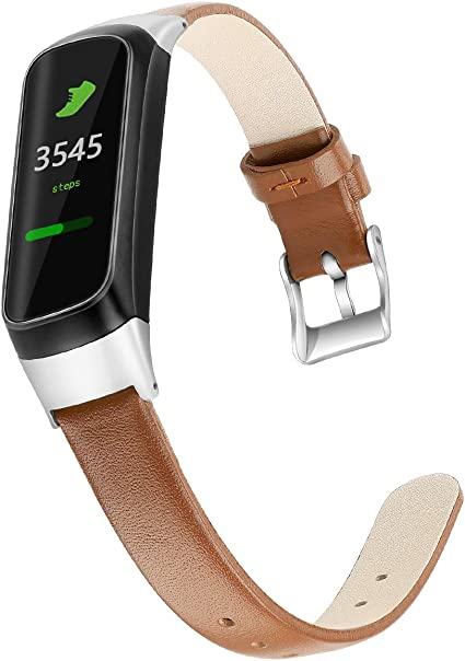 Aresh Compatible with Samsung Galaxy Fit Bands, Soft Leather Strap Replacement Wristband for Samsung Galaxy Fit SM-R370 Fitness Smartwatch (Brown)