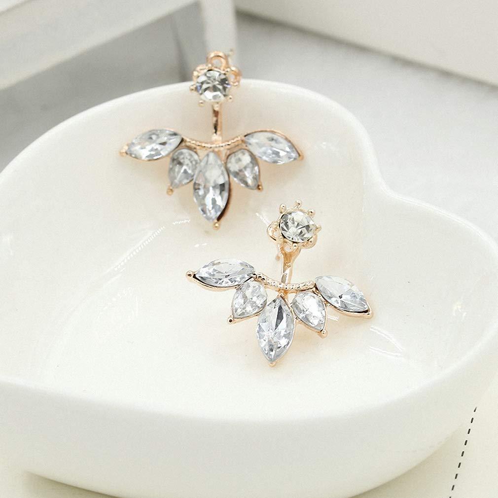 Womens Stud Earrings New Zircon Crystal Ear Cuff Clip Leaf Stud Earrings for Women Jacket Piercing Earrings Fine Jewelry Brincos
