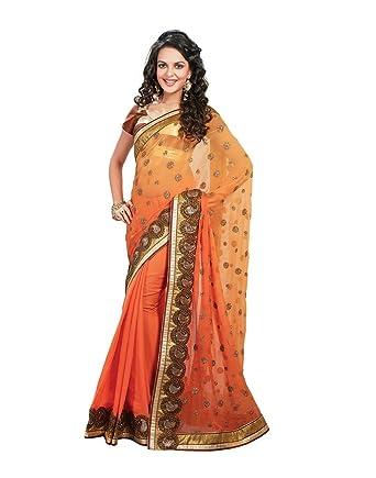 cdb9bf47e00c8 Sarees For Women Party Wear Offer Designer Saree Fabric - Viscose Blouse  Fabric - Art Silk   Gold Brocade Orange Color Sari- RTS 9053 by RAJTAG   Amazon.in  ...