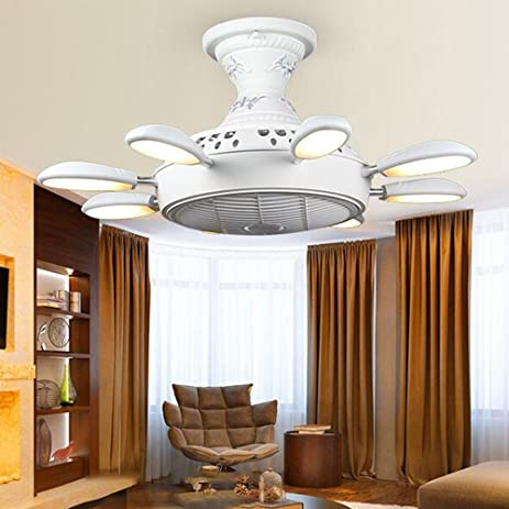 Rs lighting ts 6501 creative led white ceiling fan and 8 lights modern simple fan