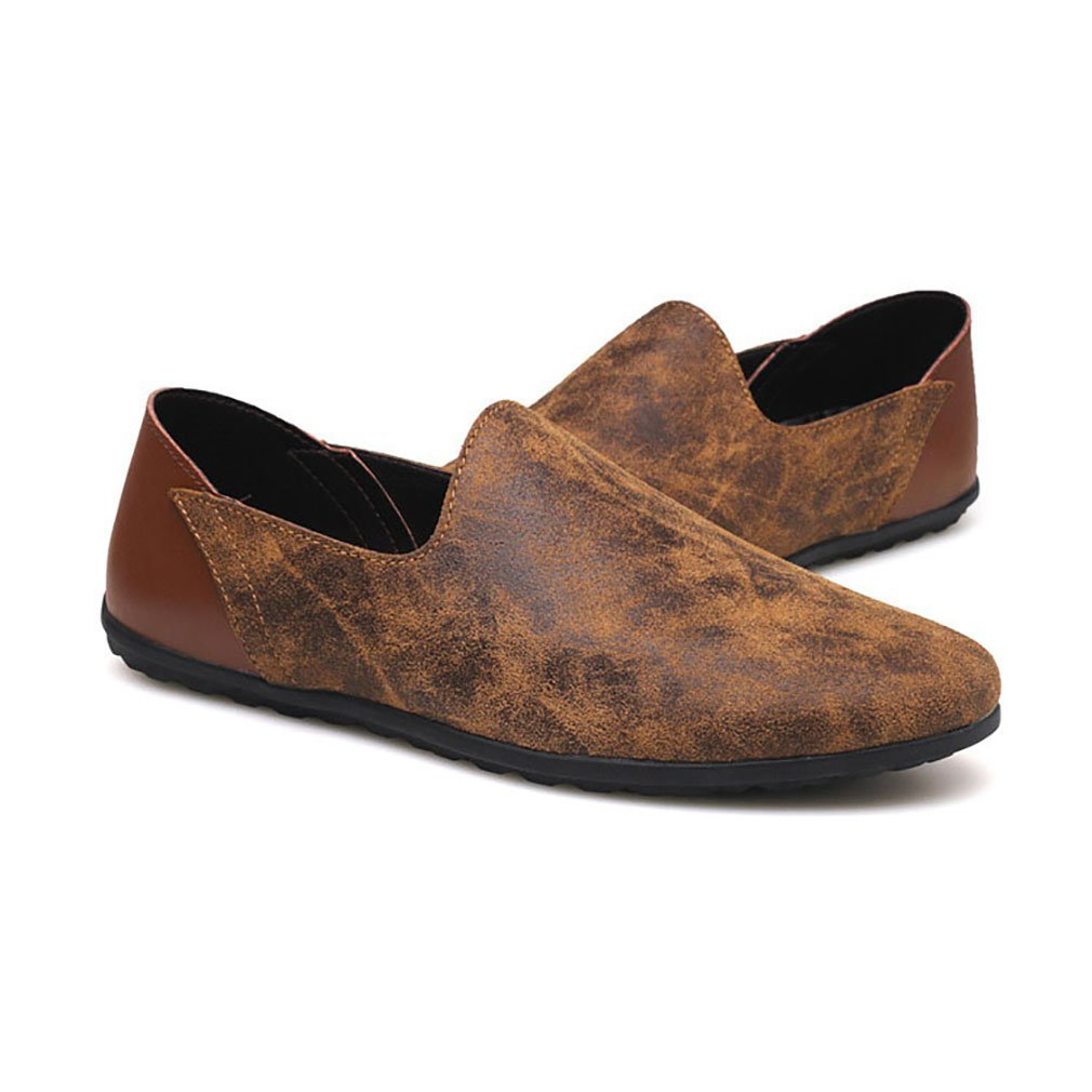 Herrenschuhe Casual Leder Oxfords Schuhe Kleid Loafers Schuhe Geschäft Flat Driving Schuhes (YAN),B,47