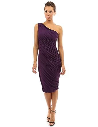 168ae88fc PattyBoutik Women One Shoulder Cocktail Dress (Dark Purple X-Small)