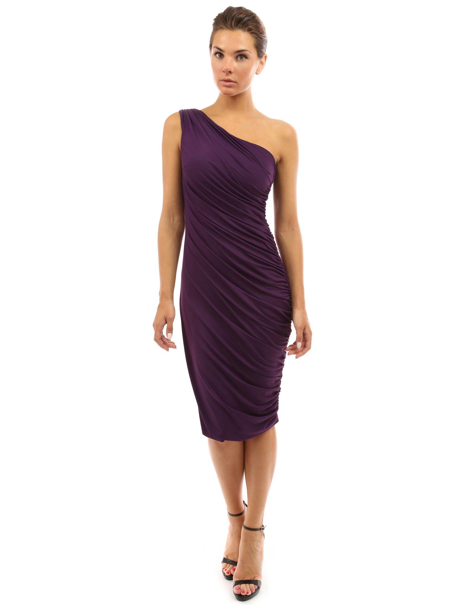 PattyBoutik Women's One Shoulder Cocktail Dress (Dark Purple XL)