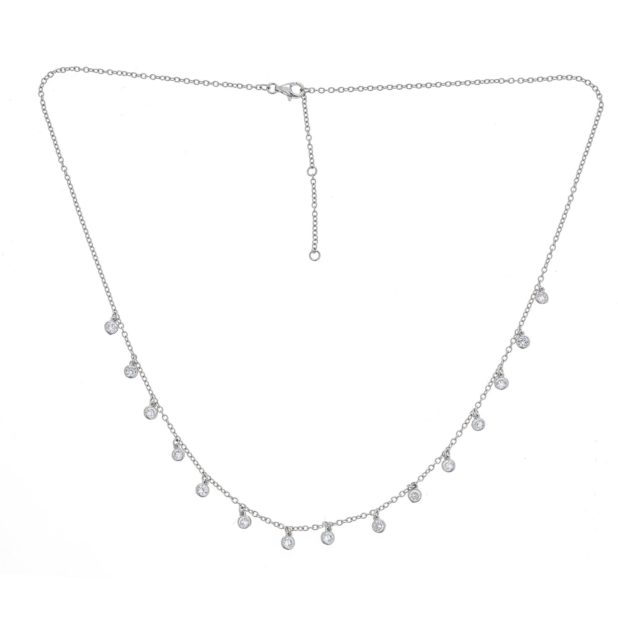 Platinum Plated 925 Sterling Silver Round Cubic Zirconia Bezel CZ by Yard Drop Dangle Station Collar Necklace, Adjustable Length 18,19,20