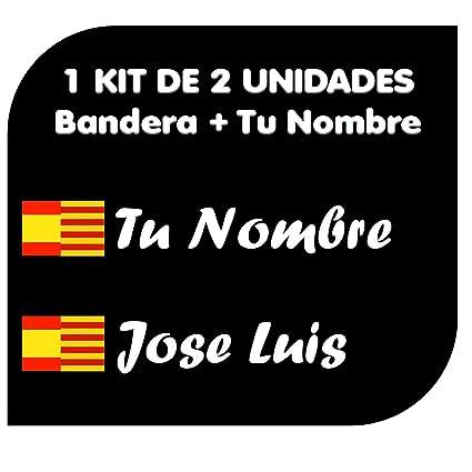 Pegatina Vinilo Bandera España Cataluña + tu Nombre - Bici, Casco ...