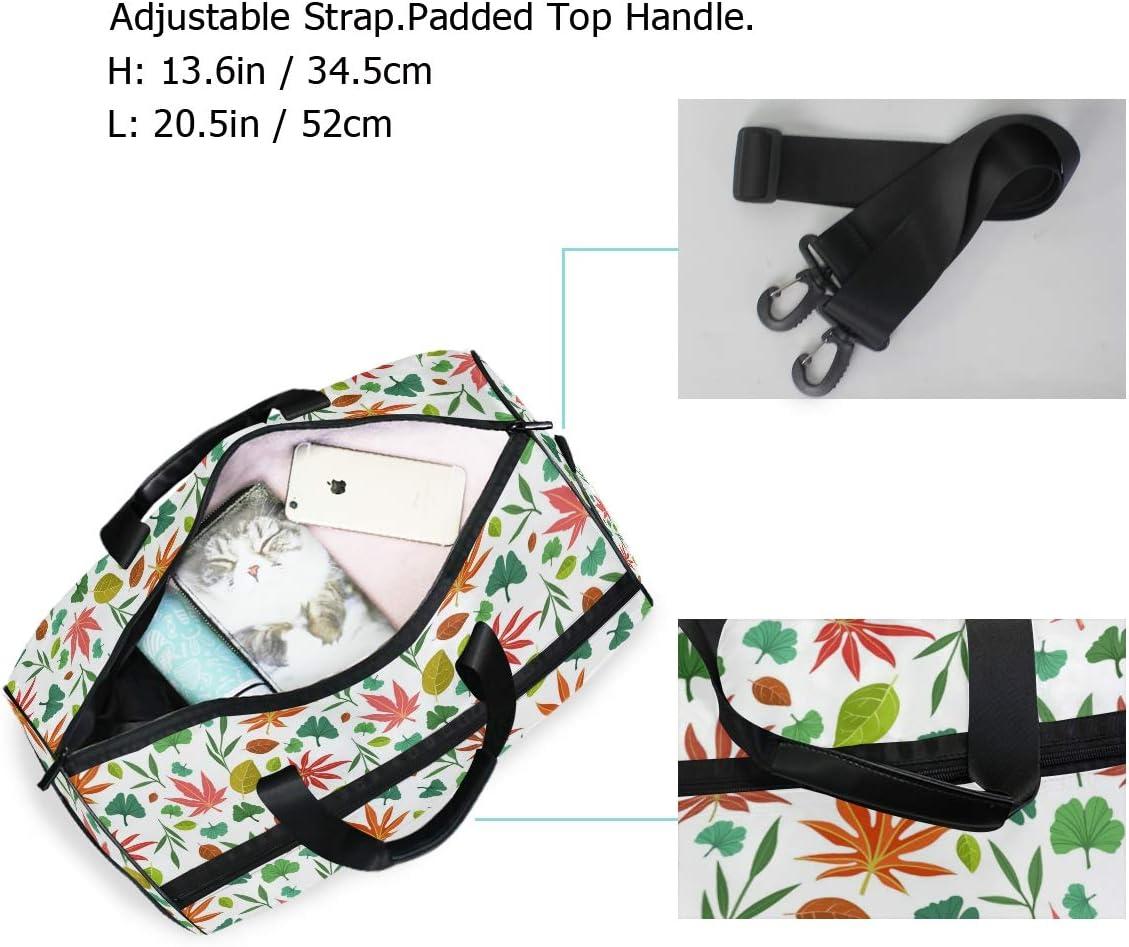 FANTAZIO Asian Leaves Pattern Sports Duffle Bag Gym Bag Travel Duffel with Adjustable Strap