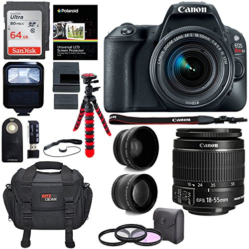 Canon EOS Rebel SL2 DSLR Camera, EF-S 18-55mm STM, Sandisk 64GB Memory Card, Telephoto, Wide Angle Lens, Filter Kit and Accessory Bundle