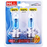 9003 H4 Halogen Headlight Bulb with Super White Light P43T 12V/55W or 60W 5000K, 2 Pack, 1 Yr Warranty
