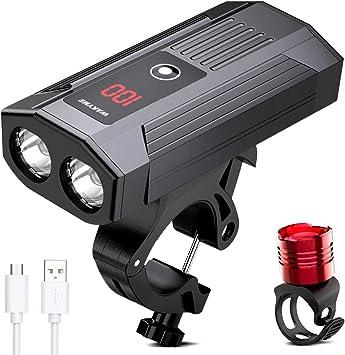 WAKYME Luces Bicicleta, Luz Bici Recargable USB de 5200mAh con ...