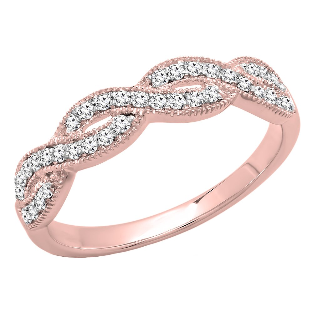 0.30 Carat (ctw) 14K Rose Gold Round Diamond Bridal Wedding Band Swirl Ring 1/3 CT (Size 6)