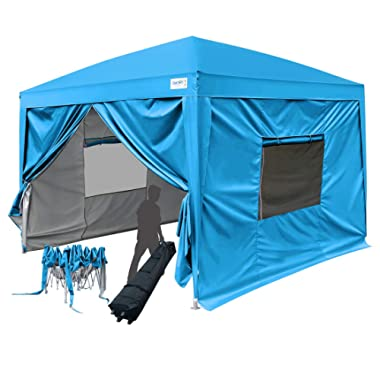 Quictent Privacy 10x10 EZ Pop Up Canopy Party Tent Folding Gazebo with Sidewalls &Wheeled Bag Waterproof (Blue)