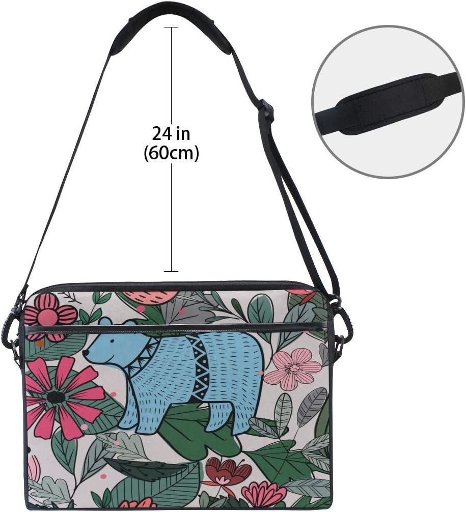 Laptop Bag Blue Bear Flowers Floral Summer 15-15.4 Inch Laptop Case Briefcase Messenger Shoulder Bag for Men Women College Students Business People