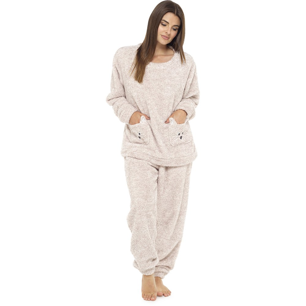 Foxbury Ladies Animal Embroidered Pocket Shaggy Fleece Long Pyjama Sleepwear LPYJ-LN733