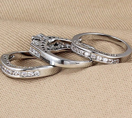 3pcs/set 925 Sterling Silver Gemstone Wedding Engagement Band Rings Sz 6-11 Gift LOVE STORY (#8)