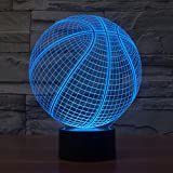 3D Illusion Lamp Gawell Night Light Basketball 7 Changing Colors Touch USB Table Nice Gift Toys Decorations