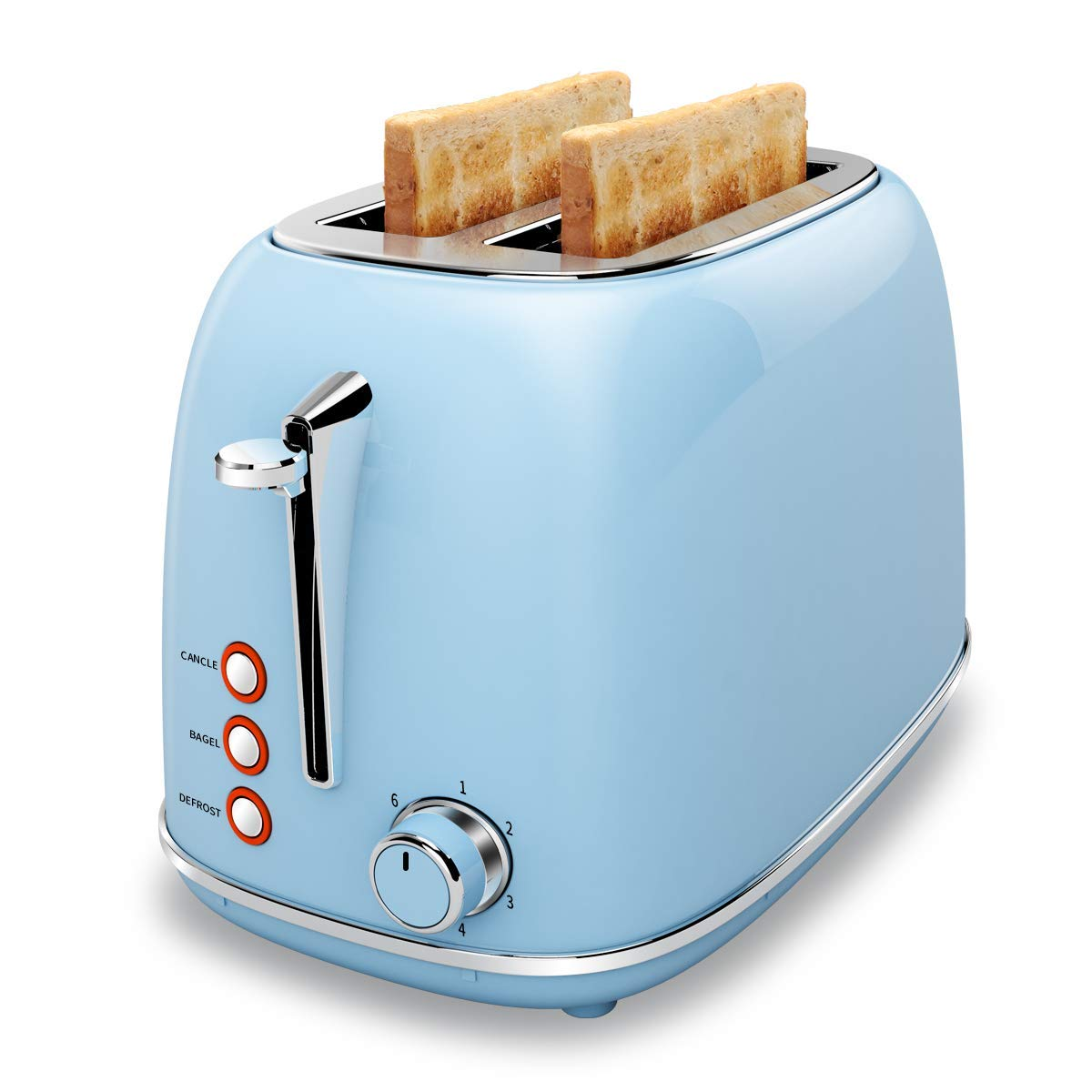 2 Slice Toaster, Keenstone Stainless Steel Bread Toaster with Cancel, Bagel, Defrost Function, 6 Browning Control, Removable Crumb Tray Blue