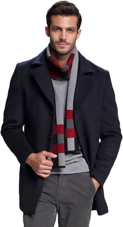 Echarpe Chaude pour les Hommes 180 Classic Luxueux Echarpe dhiver RIONA 30/% Laine Echarpe Hiver Hommes 30cm avec un sac cadeau