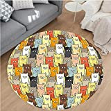 Nalahome Modern Flannel Microfiber Non-Slip Machine Washable Round Area Rug-y Cute Colorful Graphic Kittens Cartoon Style Boys Girls Kids Playroom Nursery Multicolor area rugs Home Decor-Round 75''