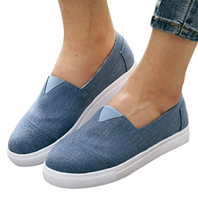 Walking Shoes for Women Slip Ons, 2020 Fashion Sneakers Classic Canvas Flats Comfortable Walking Casual Shoes at Women's Clothing store