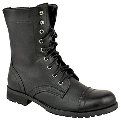 848053c9323f LADIES WOMENS LOW HEEL FLAT LACE UP BIKER ARMY MILITARY COMBAT ANKLE BOOTS  SIZE (UK