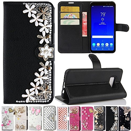 Galaxy  S8 Active  Case, Best Share Manual Bling Flip Stand PU Leather Wallet Full Cover Silicone Case Card Slot for Samsung Galaxy  S8 Active , Black-Lucky Flower