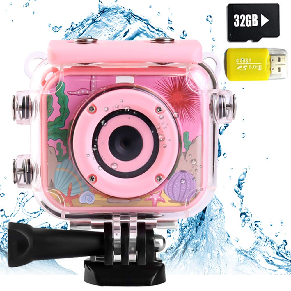 denicer Waterproof Children's Camera with 2.0 Inch LCD Display 12MP HD Kids Underwater Camera Camcorder with 32G SD Card for 4-12 Girls Festive/Birthday Gift-Pink by denicer (Image #1)