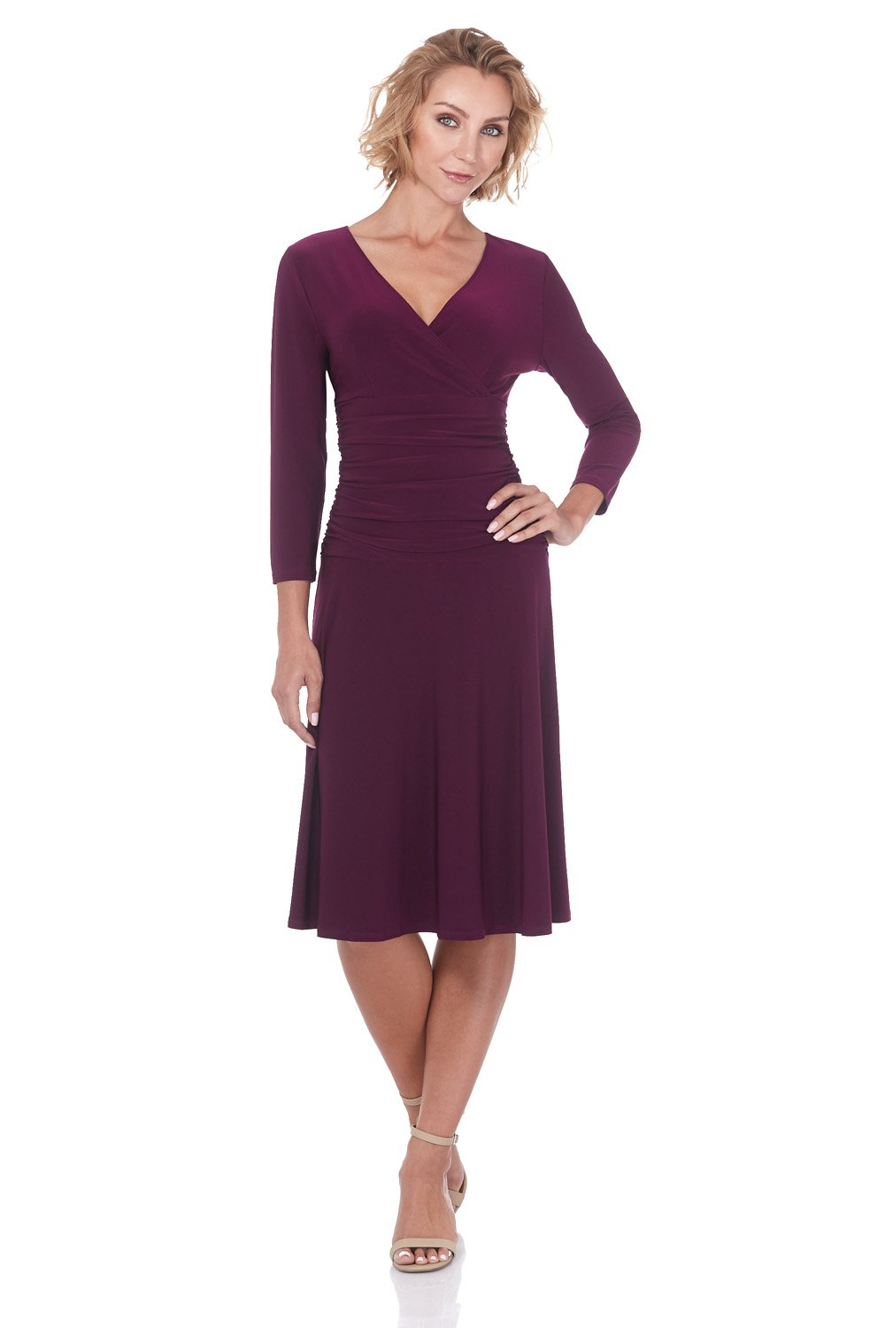 Rekucci Women's Slimming 3/4 Sleeve Fit-and-Flare Crossover Tummy Control Dress (12,Wine)