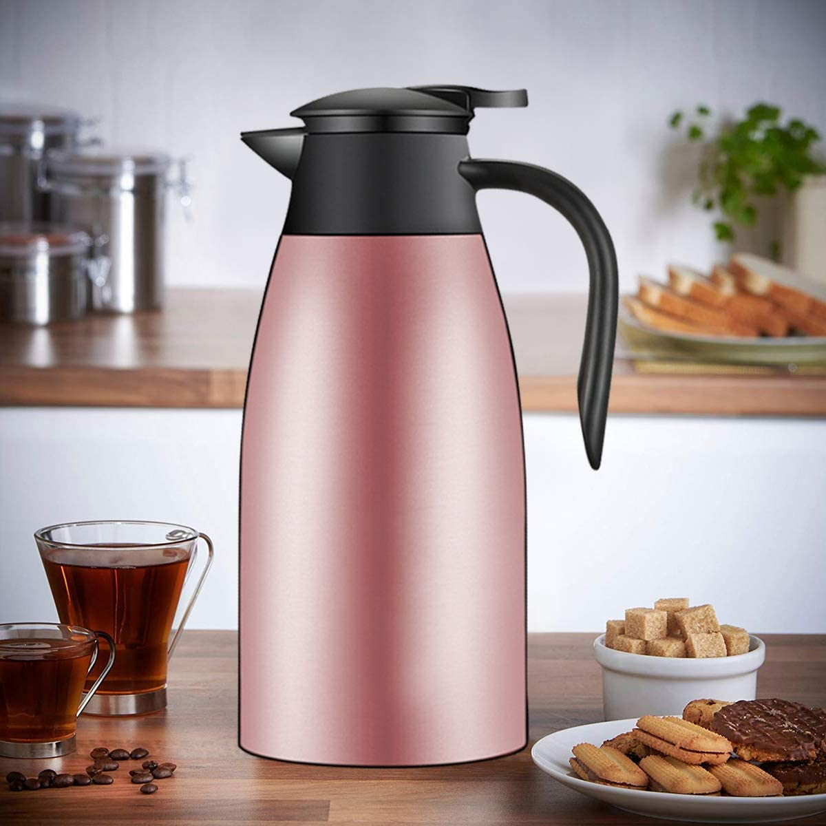 Black Choppan 68 Oz Stainless Steel Thermal Coffee and Tea Carafe Double Walled Vacuum Insulated Thermos 12 Hours Heat/&Cold Retention Kettle