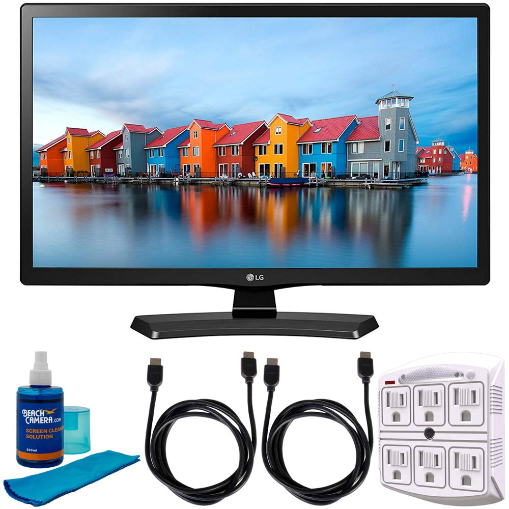 LG 24LH4830-PU - 24-Inch Smart LED TV (2017) w/Accessories Bundle Includes, 2X 6ft High Speed HDMI Cable, SurgePro 6-Outlet Surge Adapter w/Night Light and Universal Screen Cleaner (Large Bottle) by LG