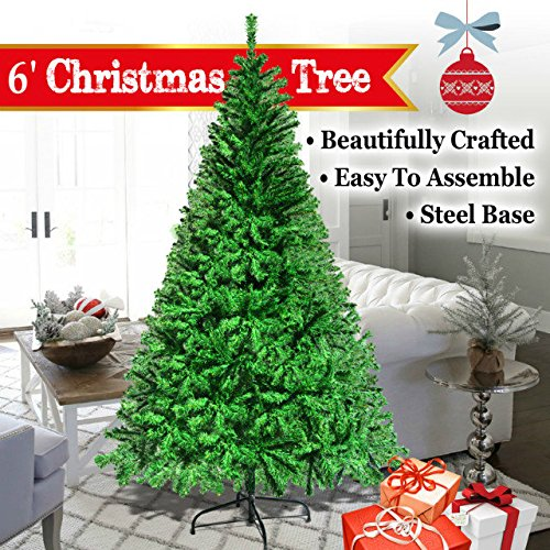 BenefitUSA 6u0027 White 180CM Classic Pine Christmas Tree Artificial Realistic  Natural Branches Unlit