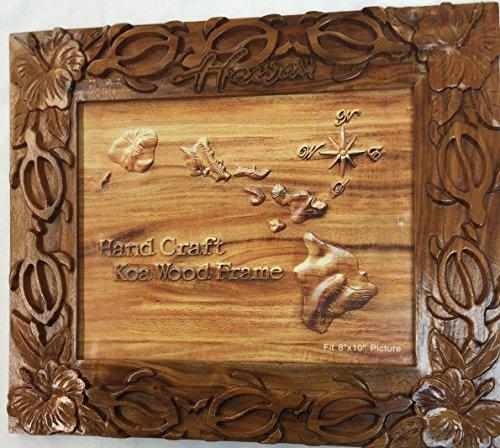 "Koa Wood Handcrafted 8""x10"" Picture Frame, HAWAII Turtle Hib"