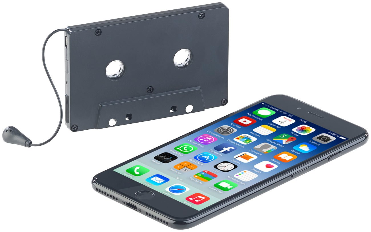 Freisprech-Funktion Kassettenadapter Bluetooth Bluetooth 4.0 auvisio Kassettenadapter: Kabelloser Kassetten-Musik-Adapter
