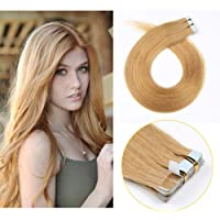 SHOWJARLLY #27 Strawberry Blonde Remy Tape in Real Hair Extensions Human Hair Silky Straight 16inch Seamless Skin Weft Tape in Extensions (30g,20Pcs)